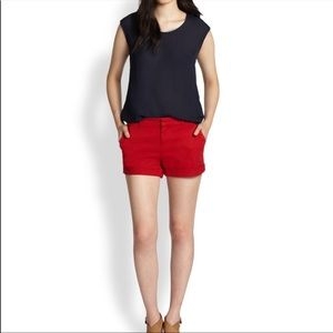 Joie Red Cuffed Shorts